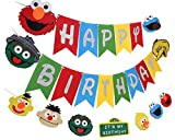 Sesame Birthday Party Decorations Sesame Banner &Garland Sesame Sign Banner Supplies for Elmo Kids Birthday Party Favor Decorations