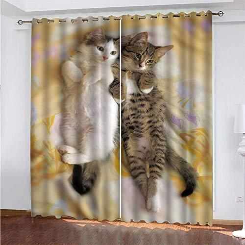 YUNSW Schöne Katze 3D Digitaldruck Polyester Faservorhänge, Garten Wohnzimmer Küche Schlafzimmer Verdunkelungsvorhänge, Lochvorhänge 2-teiliges Set
