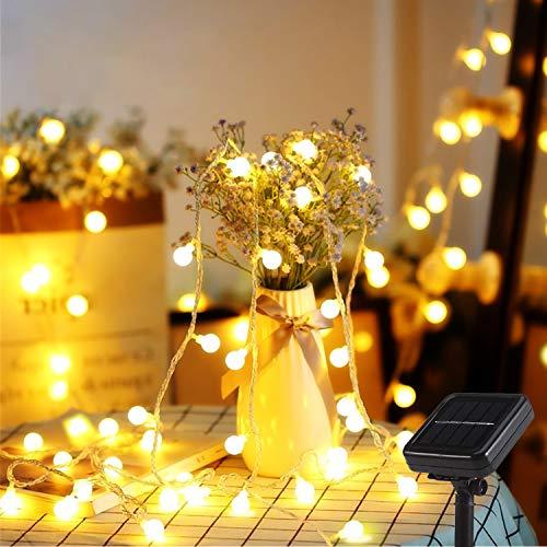 Mr.Twinklelight - Guirnalda de luces solares (6,7 m, 52 ledes, 8 modos de luz, IP44, ideal para iluminación navideña, decoración interior y exterior, jardines, fiestas, árboles, blanco cálido)