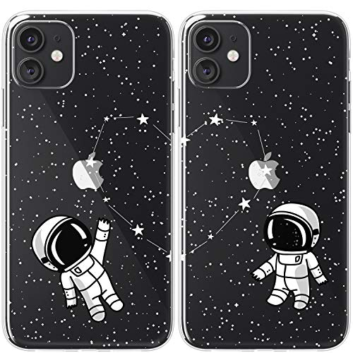 Mertak TPU Couple Cases Compatible with iPhone 12 Pro Max Mini 11 SE Xs Xr 8 Plus 7 6s Space Love Cute Matching Cover Girlfriend Boyfriend Anniversary Astronaut Stars Constellation Best Friends BFF