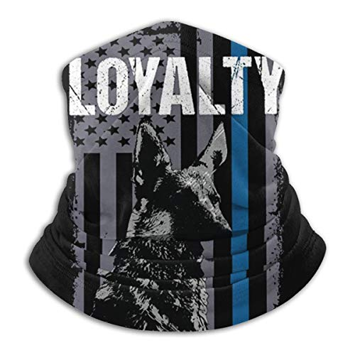 Police K9 Unit Dog Loyalty Thin Blue Line Flag Neck Gaiter Warmer Windproof Mask Dust Face Clothing UV Face Mask Balaclava Scarf for Ourdoor Sport