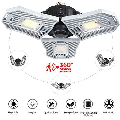 LED garage verlichting, 60W E26 / E27 verstelbare garage plafondverlichting voor alle ruimtes, bewegingssensor verlichting voor garage, kelder, werkplaats, magazijn, etc