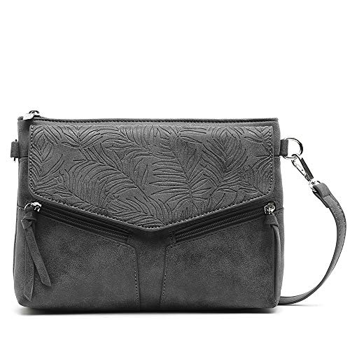 MISAKO – Bolso Pequeño de Mujer GOLINA en color Negro 6 X 26 X 19 cm| Bolso Bandolera con Bolsillos | Bolso de Polipiel Acabado Artesanal