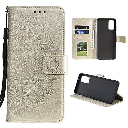 CoverKingz Handyhülle für Samsung Galaxy A52 / A52 5G / A52s 5G - Handytasche mit Kartenfach Galaxy A52 / A52 5G / A52s 5G Cover - Handy Hülle klappbar Motiv Mandala Gold