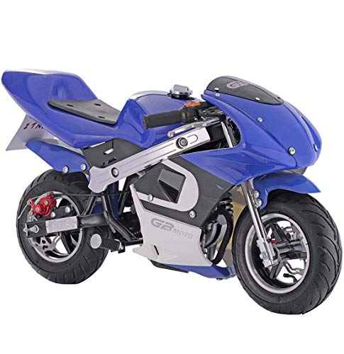 Superrio New Gas Mini Pocket Bike Motorcycle 40cc 4-Stroke Engine (Blue)