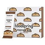 foodspring Barritas De Proteína Extra Choco, Crunchy Peanut, 12 x 65g, El snack alto en proteínas con chocolate real y menos azúcar