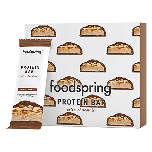 foodspring Barretta Proteica Extra Cioccolato, Crunchy Peanut, 12x65g, con un ridotto contenuto di zuccheri e tante proteine