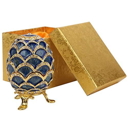 Caja de la baratija del Huevo de Pascua Caja organizadora de la joyería del Huevo de Pascua esmaltada Decoración del hogar