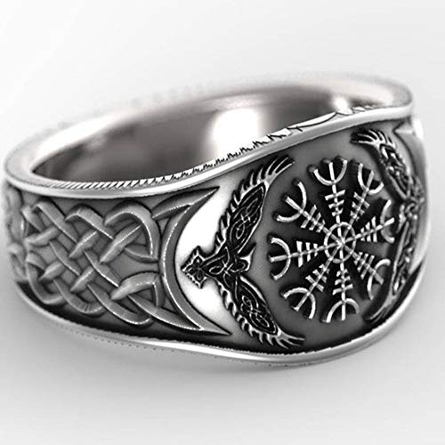 Serired Nordic Compass Vegvisir Symbol Ring, Men and Women Viking Odin's Raven Celtic Knot Totem Rune Jewelry Amulet,13