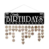 Joy-Leo Gifts for Moms Dads - Wooden Family Birthday Reminder Calendar Plaque [100 Wood Slices Tags with Holes & 100 Jump Rings], Decorative Birthday Tracker Board Wall Hanging