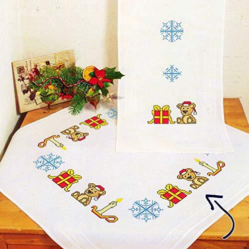 Kamaca Kamaca - Kit de punto de cruz para mantel (80 x 80 cm, algodón), diseño de oso de peluche con regalos