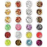 24 bouteilles Feuille d'or Nail Art d'argent Paillette nail art foil accessoires
