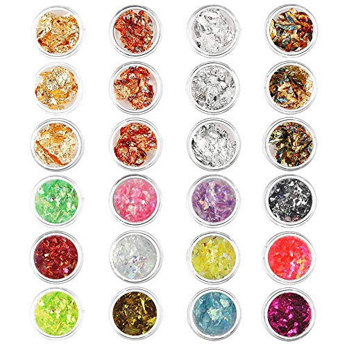 24 Cajas Nail Art Foil Gold Silver Foil Paillette Flake Nail Art Decoration