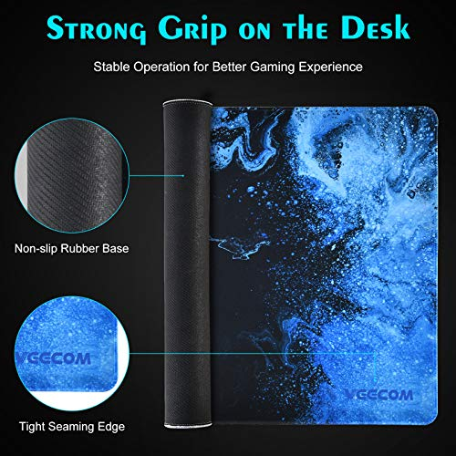 Gaming Mouse Pad, veecom Large Mouse Pad XL, Big Mouse Pad for Computer Gamer, Thick Gaming Mousepad Large 31.5×15.75In, Extended Keyboard Mouse Pads for Desk, Non Slip Mouse Mat (Blue) Photo #5