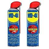 2 Bombolette da 500 ml di WD40 Smart Straw, prodotto multifunzione spray, lubrificante, antiruggine, con testina dosatrice a spruzzo integrata (etichetta in lingua tedesca)