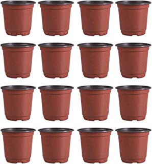 Yardwe 30PCS Nursery Pot/Pots - Plastic Durable Breathable Holder Seedlings Flower Plant Container - Diameter 150mm (Brown)