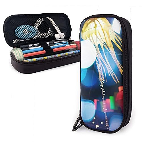 Linterna colorida que ilumina la noche Estuche para lápices de cuero, gran capacidad, duradero, con cremallera, estuche para bolígrafos, caja estuche para lápices, almacenamiento, maquillaje