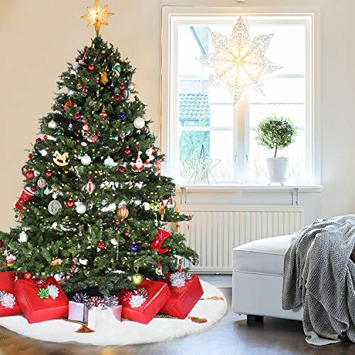 Hengda Plüsch Weihnachtsbaum Röcke Weiß Weihnachtsbaumdecke Weihnachtsschmuck Kunstfell Weihnachtsbaumschürze für Weihnachten und Neujahr Party Urlaub Heimdekorationen(122cm)