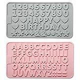 Stampo in silicone per lettere e numeri, antiaderente, riutilizzabile, con simboli di buon compleanno dell'alfabeto, per decorazione torte e dessert (2 pezzi) (blu e rosa)