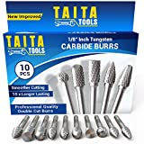 10PC Carbide Double Cut Burr Set - 0.118 Inch (3mm) Shank, Rotary Tool Cutting Bits - Accessories for Dremel, Fordom, Flex Shaft, Dewalt And Multitools - For Wood Carving, Metal Working And Engraving.