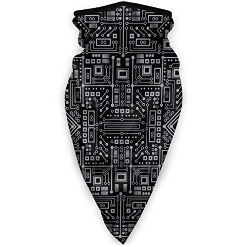 TURFED Evil Robot Circuit Board (Negro y Gris) Protector Facial - Multiuso a Prueba de Viento Máscara Deportiva Bufanda al Aire Libre Calentador de Cuello Bandana Pasamontañas Sombreros