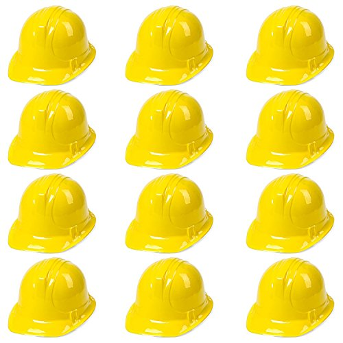 Anapoliz Yellow Construction Hats Toy for Kids Dress Up Theme Party Fun Pack | 12 - Pack