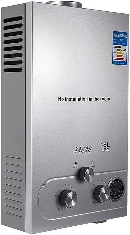 Calentador de agua de gas Panthem, 18 L, con cabezal de ducha y pantalla LCD, 36 kW LPG, calentador de agua caliente instantáneo, sin depósito para ...