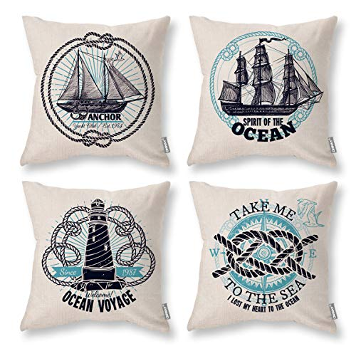 ONWAY Nautical Throw Pillow Covers 18x18 Set of 4 Sailing Navigation Compass Sailboat Sea Pillow Covers Adventure Home Decor Cushion Covers for Sofa Bedroom Couch and Car