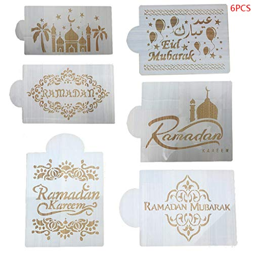 cici store 8 Pcs/Set Eid Mubarak Ramadan Plastic Coffee Spray Stencils,DIY Mould Cake Mold Decorating Template(6Pcs/Set)