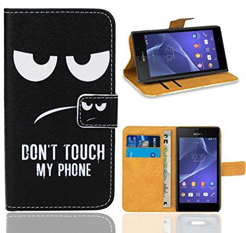 FoneExpert® Sony Xperia M2 Handy Tasche, Wallet Hülle Flip Cover Hüllen Etui Ledertasche Lederhülle Premium Schutzhülle für Sony Xperia M2