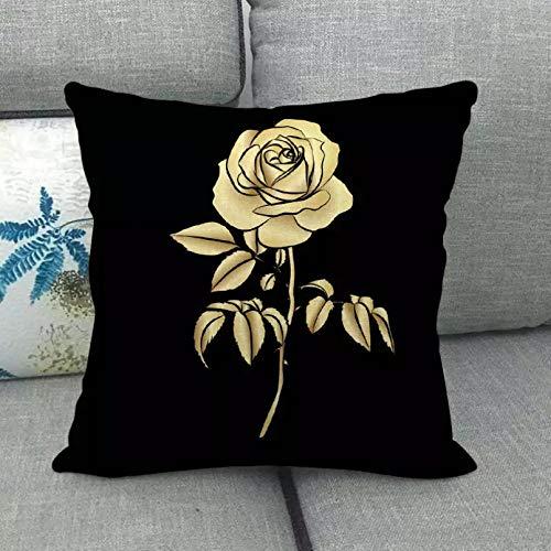 Funda Cojine 45 cm * 45 cm Fondo Negro y diseño de Rosa Dorada Lino algodón Tiro Fundas de Almohada sofá Funda de cojín decoración para el hogar Almohada Cubierta cojín sofá Decor casera