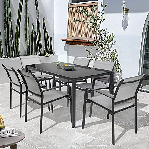 Garden Dining Furniture Set of 6, Patio Table and 6 Chairs Set with Textilene Fabric and Metal Frame, 1 Tempered Table and 6 Seater Set for Outdoor Patio Dining Room Kitchen