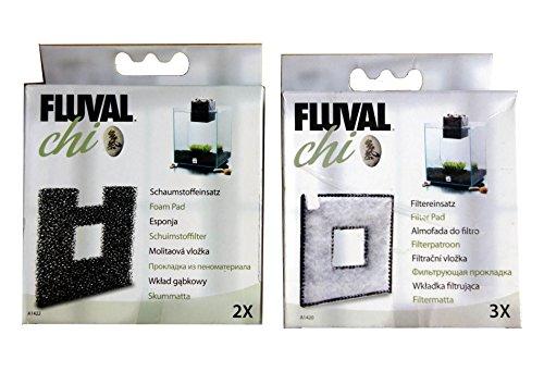 Fluval Chi Lot de 3 filtres + 2 tampons en mousse (authentiques) pour aquarium 19 et 25 litres A1420 + A1422