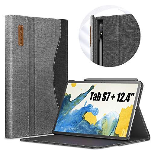INFILAND Hülle für Samsung Galaxy Tab S7+/S7 Plus 12.4 (T970/T975/T976) 2020, Business Folio Ständer Hülle Schutzhülle Tasche, Auto Schlaf/Wach,Grau