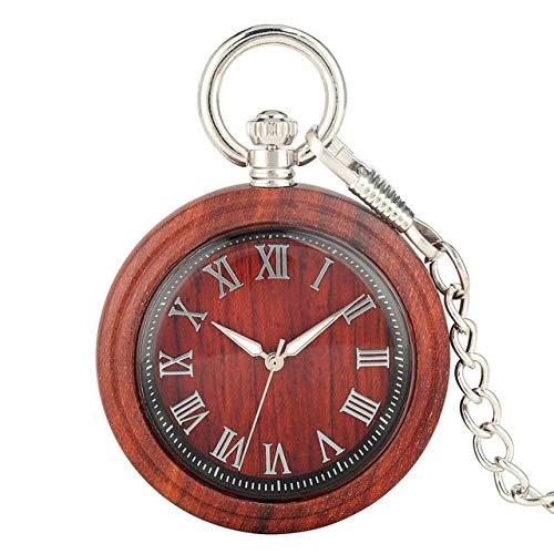 RWJFH Reloj de Madera Visualización de números Romanos clásicos Reloj de Bolsillo de Madera Completo Reloj de Cuarzo Bronce/Plata Cadena Colgante Reloj Retro, F