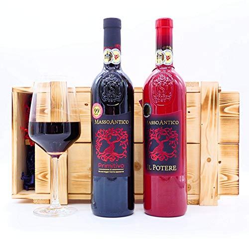 algawe Wein Geschenk Masso 2er Holzkiste | Geschenkbox | Italienischer Rotwein Primitivo 0,75l | Il Potere 0,75l