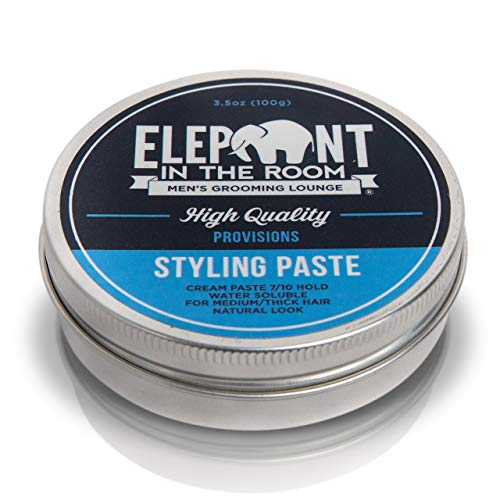 Styling Paste by Elephant In The Room Men's Grooming Lounge - Water Soluble Cream Paste for Men - Strong Styling Cream Paste for Medium to Thick Men's Hair - 7 Out 10 Hold + Matte, Natural Finish wit