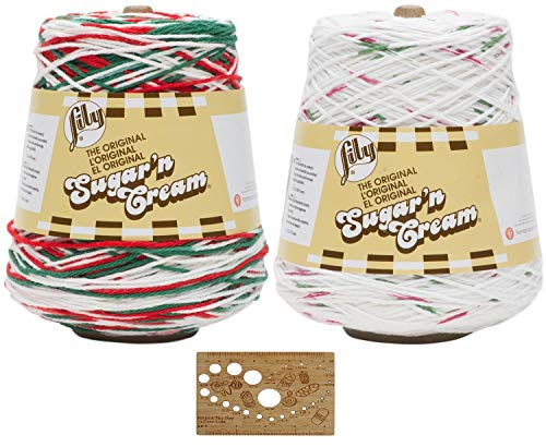 """Lily Sugar n' Cream Holiday Cone Bundle 2-Pack Variety Assortment 100% Cotton Medium 4 Worsted Includes 4"""" Bamboo Knitting Gauge (Multi Cone Bundle)"""