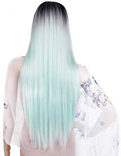 IQQI Wigs Long Straight Hair Light Blue Gradient Natural Fashion Perfect for Halloween, Concerts, Theme Parties, Weddings, Dating