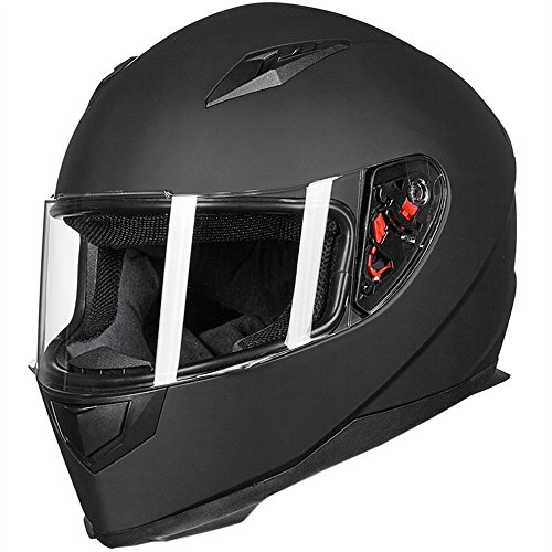 Full Face Motorcycle Street Bike Matte Black Helmet with Removable Winter Neck Scarf + 2 Visors DOT