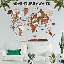 3d wood world map wall art