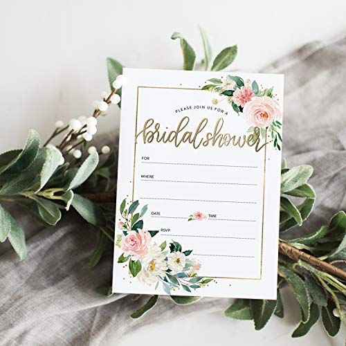 24 Bridal Shower Invitation with Envelopes, Modern Calligraphy and Wedding Dress Bridal Shower Invitation, Fill-in Style Invitation (Floral)