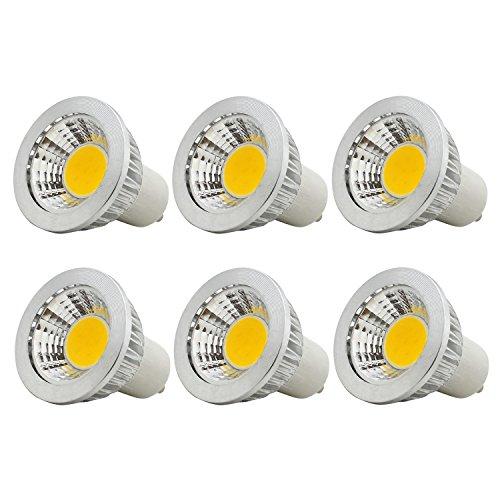 6 Stück, 3W GU10 COB LED Lampen, Ersatz für 20W Halogenlampen, Nicht Dimmbar, 210LM, Warmweiß 3000K, 90°Strahlwinkel, LED Lampe, LED Birnen, LED Leuchtmittel