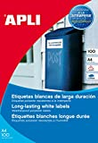 APLI 12121 - Etiquetas resistentes intemperie 210,0 x 297,0 mm 100 hojas, Blanco