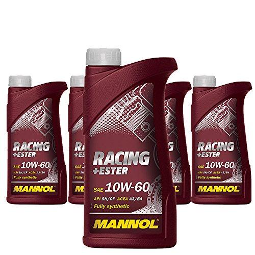 MANNOL 5 x 1L Racing+Ester 10W-60 CF/Vollsynthetisches PKW Motorrad Motoroel