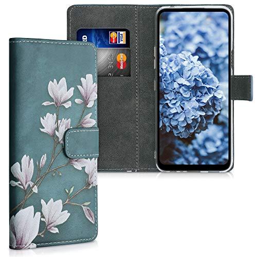 kwmobile Wallet Hülle kompatibel mit LG K42 - Hülle mit Ständer Kartenfächer Magnolien Taupe Weiß Blaugrau