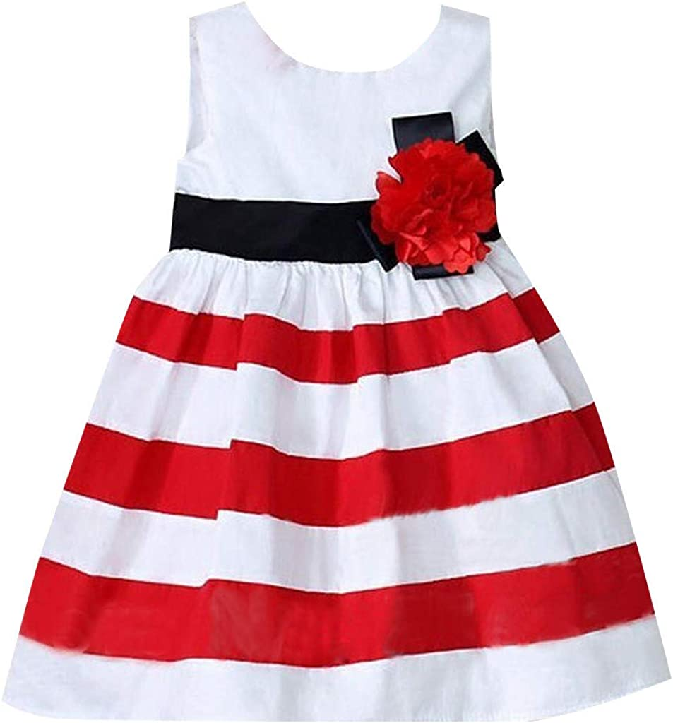 Meisiqw Girls Sleeveless Stripe Dress Round Neck Floral Printed Casual Party Sundress 2-4 Years