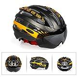 Yissma Fahrradhelm, Mountainbike Helm mit abnehmbarem magnetischem Visier Abnehmbarer Sonnenschutzkappe und LED Rücklicht Radhelm Rennradhelm für Erwachsenen Herren Damen