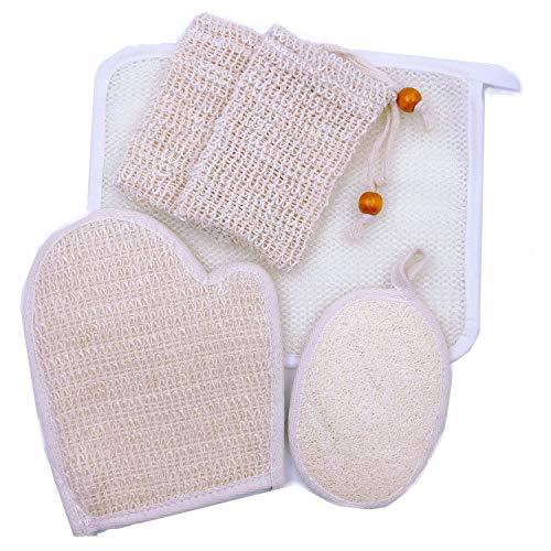 JZK 5 x Loofah esponjas bolsa jabón loofah guantes