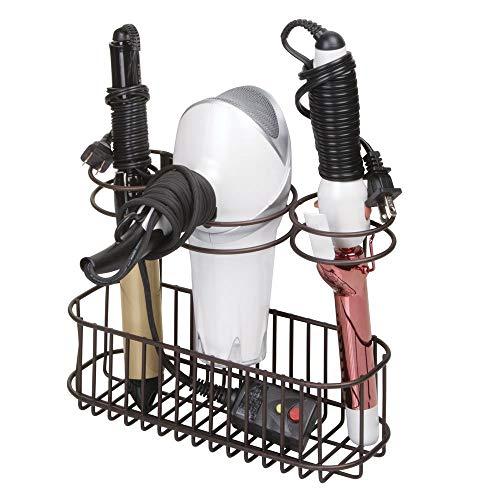 mDesign Soporte de pared para secador de pelo – Práctico estante de baño con 3 divisiones para utensilios de peluquería – Organizador de baño para secador, plancha o rizador – color bronce